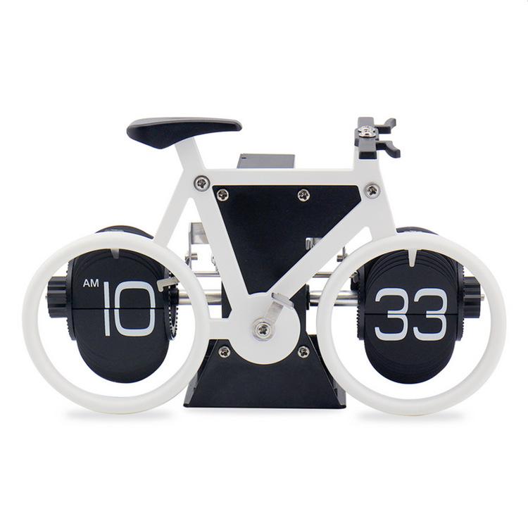 外贸妙刻复古自行车翻页钟自动单车翻叶钟客厅座钟环法纪念礼品