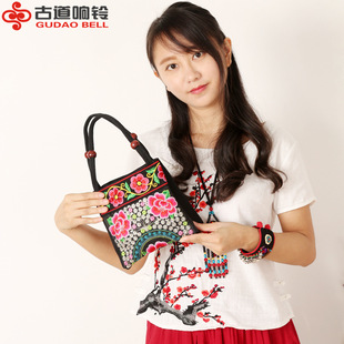 New ethnic embroidered bag canvas embroidered wooden beads small handbag double zipper cotton cloth female bag stall running rivers and lakes