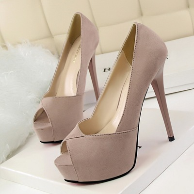 1118-1 han edition fashion simple heels with ultra fine with waterproof Taiwan nightclub show thin shallow mouth fish mo