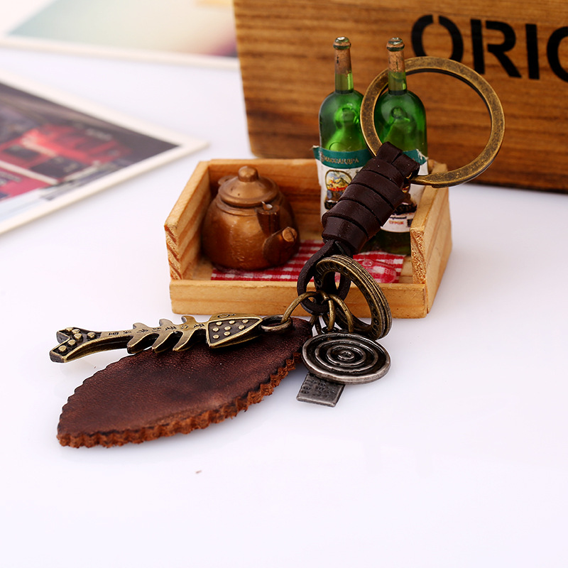 Creative Keychain Men and Women Small Gifts Alloy Fish Bones Vintage Woven Leather Keychain Leather Pendant NHPK178109