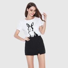 品牌高腰条纹短裤女夏显瘦不对称裤裙专柜OL修身简约阔腿裤批发