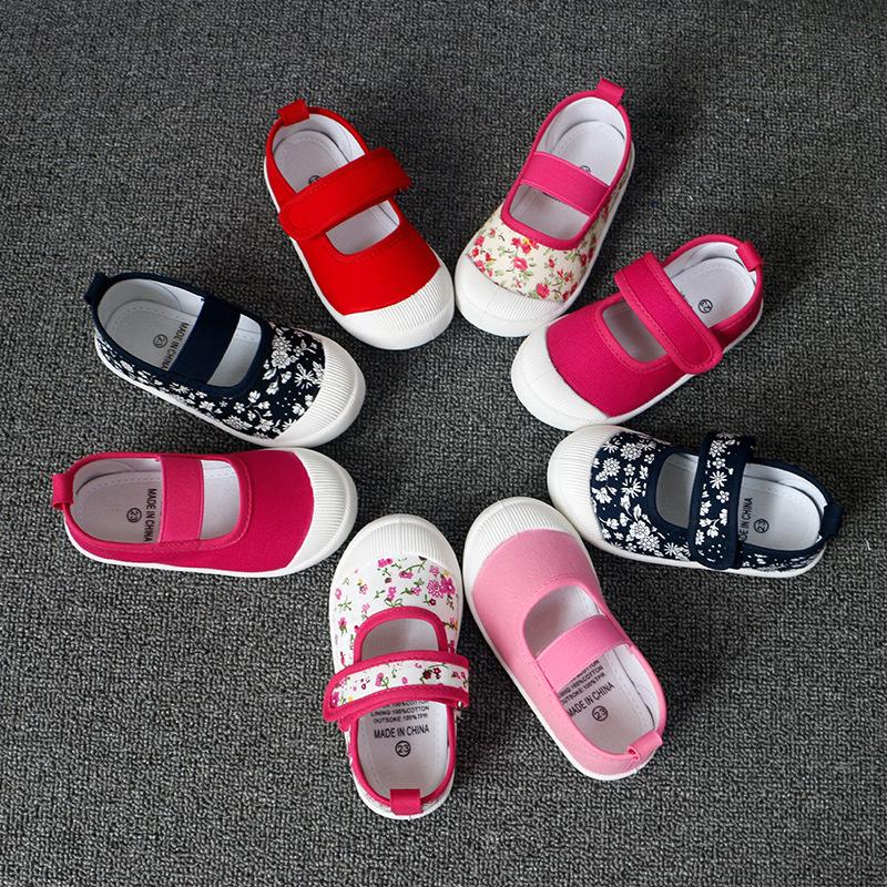 南鹭厂家童鞋批发 2020儿童帆布鞋浅口单鞋松紧碎花朵方口女童鞋