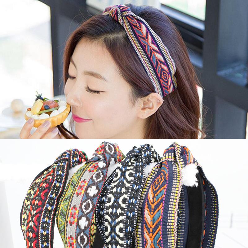日韩国头发饰品中间打结布艺发箍民族风宽边复古格纹发卡头箍B144