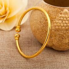 欧币金饰品女黄铜镀24K金开口对珠光板手镯潮流仿金久不褪色 混批
