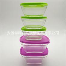 廠家直銷玻璃保鮮碗 五件套玻璃碗帶蓋方形保鮮盒 玻璃密封盒