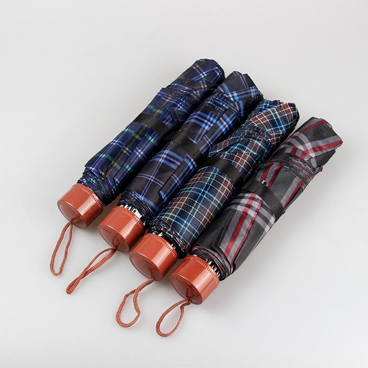 廠家批發三折倒桿格子雨傘 創意晴雨傘 迷你便攜式 太陽傘遮陽傘