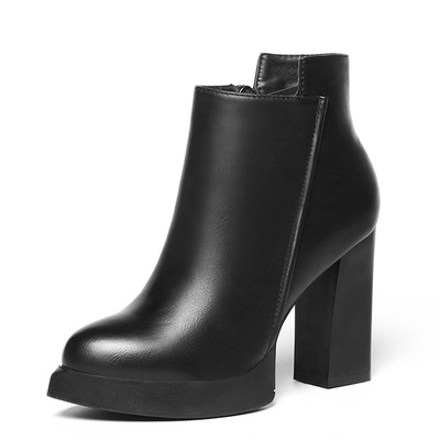 Martin boots fashion short boots pointed joker thick heel naked boots's main photo