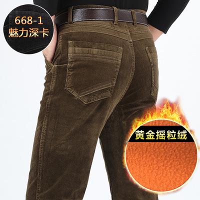 灯芯绒男裤休闲裤中老年男裤长裤直筒中年加绒加厚冬季男式条绒裤