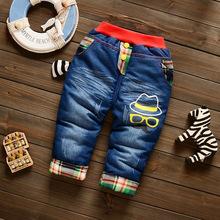 冬款童装儿童牛仔裤男童加棉加厚长裤1-2-3岁宝宝棉裤可开档裤子
