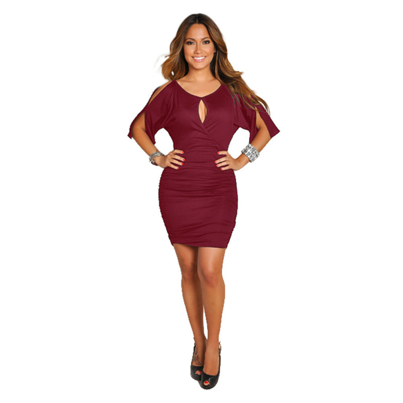 Polyester Fashiondress(Wine Red - M) NHDF0248-Wine Red - M