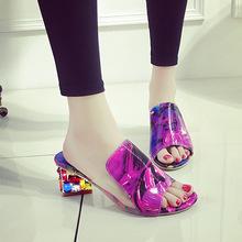 2016夏季新款拖鞋女粗跟鱼嘴凉拖鞋水钻一字大码时装女鞋厂家直销