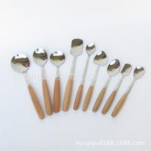 批發供應木柄不銹鋼刀叉勺餐具套裝 卡通勺子 咖啡勺子批發