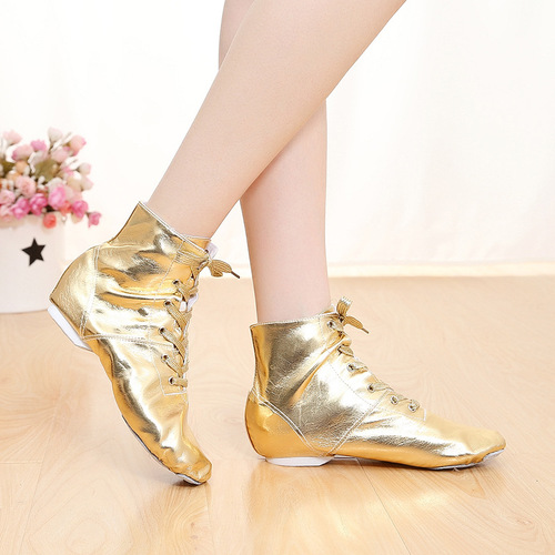 Gold and silver Pu bright leather jazz shoes children dance shoes soft soled modern dance shoes ballet training shoes women Yoga shoes