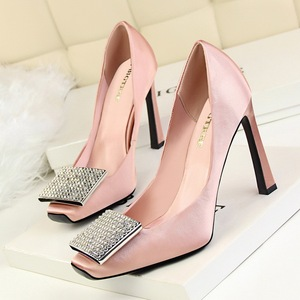 Square head shoes, Diamond buckle's Nude Pumps