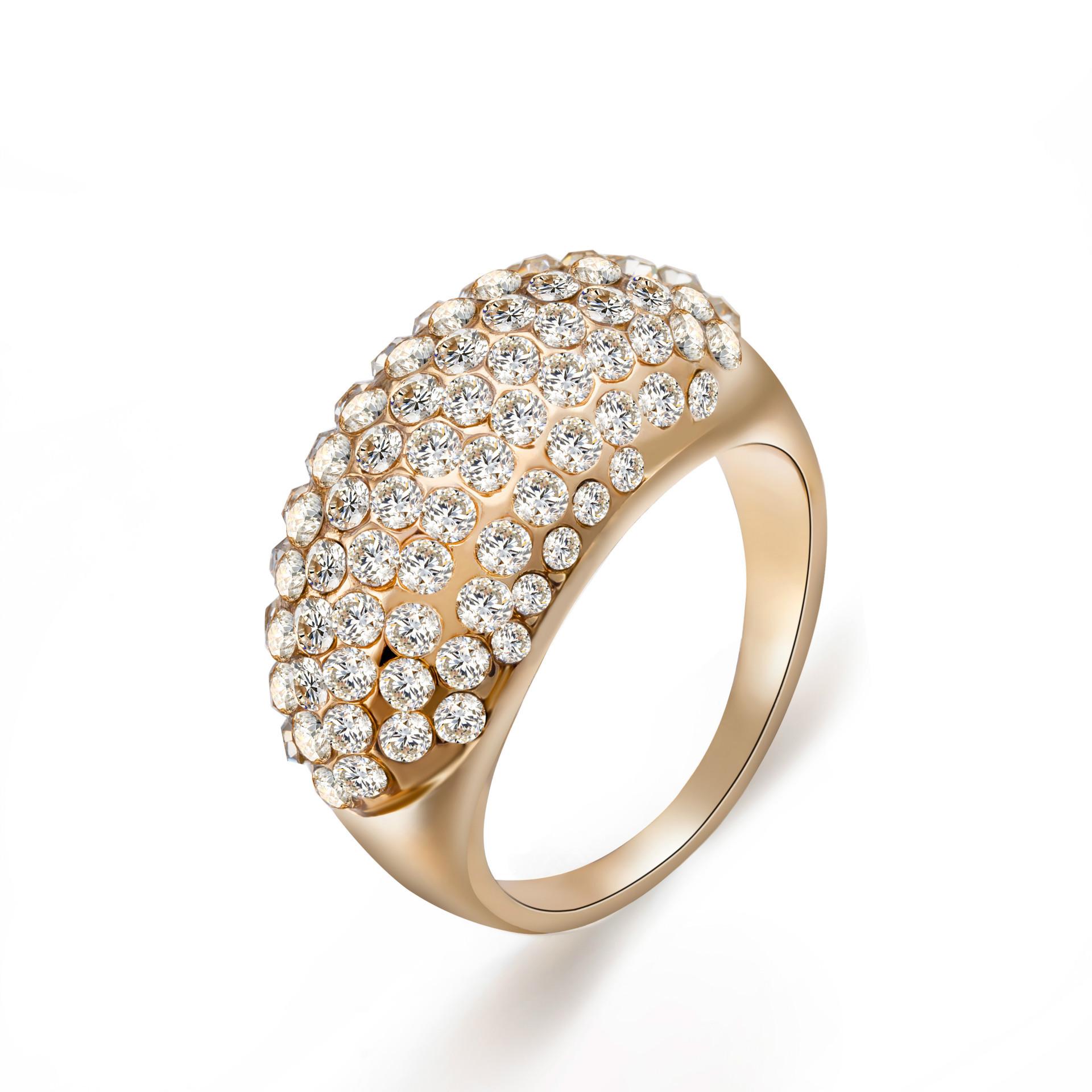 亚马逊外贸合金饰品 欧美锆石手饰批发 水晶满钻戒指国际一件代发