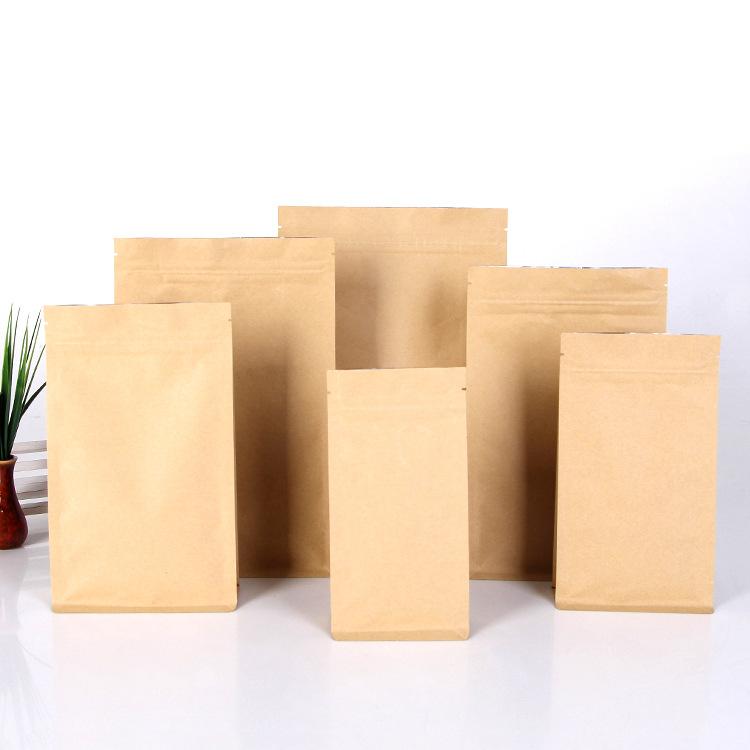 镀铝牛皮纸袋八边封食品密封袋花茶饼干包装袋自立自封袋定做批发
