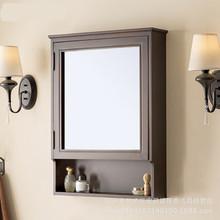 实木美式浴室镜柜组合欧式卫生间储物镜箱隐藏式镜子带置物架柜