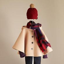 童装冬女童呢大衣女童呢子外套儿童大衣单排扣连帽披风保暖潮