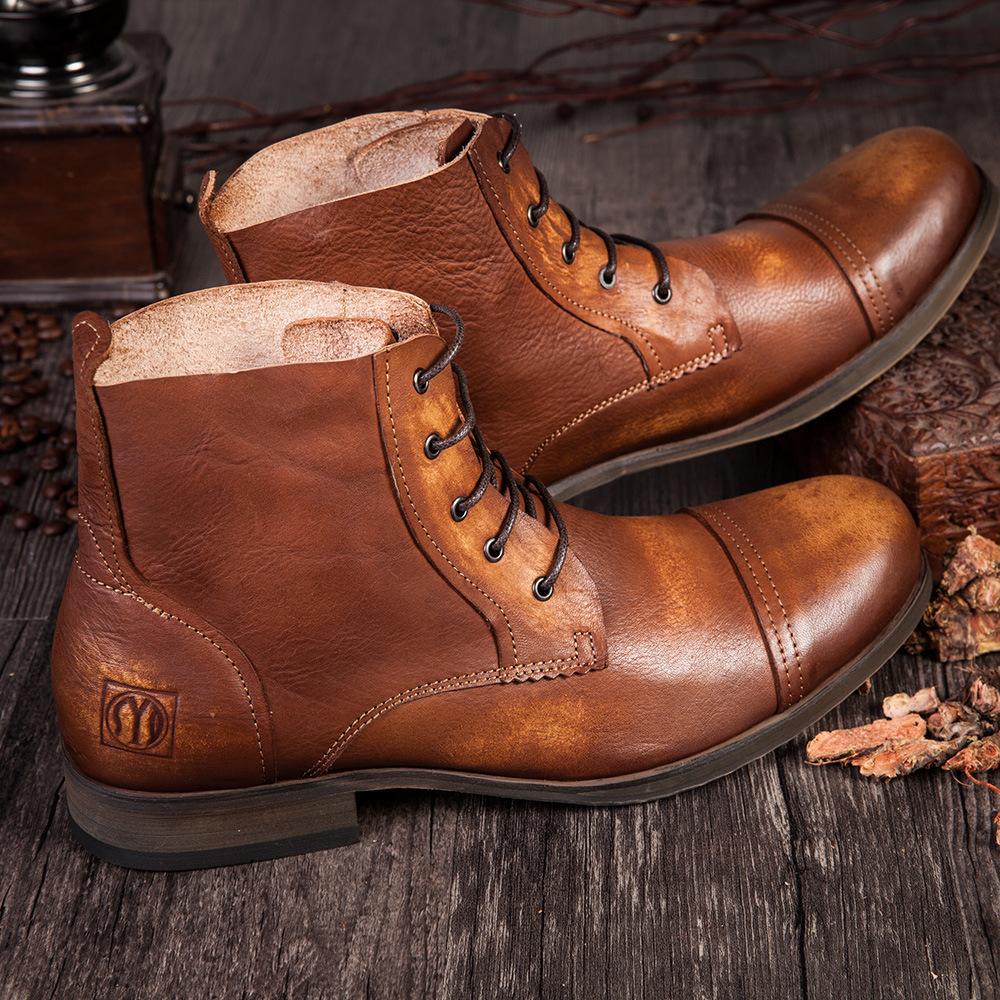 英伦复古男靴高帮圆头马丁靴男真皮系带休闲短靴时尚男靴头层牛皮