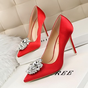 Diamond shoes high heel with sexy thin shallow pointed mouth shining diamond buckle shoes