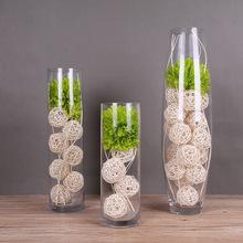 吹制圆筒玻璃大花瓶三件套装创意款家居工艺品 现代简约装饰摆件