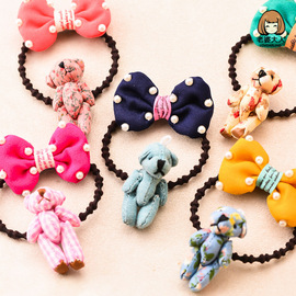 Wife adults new cute bow bears rubber band women's hair ring hair rope