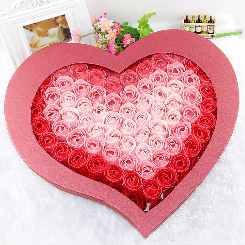 情人节母亲节礼物 99朵玫瑰香皂花礼盒 创意生日礼品仿真花批发