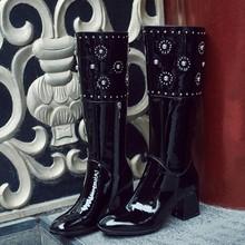 头层牛漆皮粗跟高筒靴子女骑士靴秋冬季新款女鞋铆钉靴黑色百搭