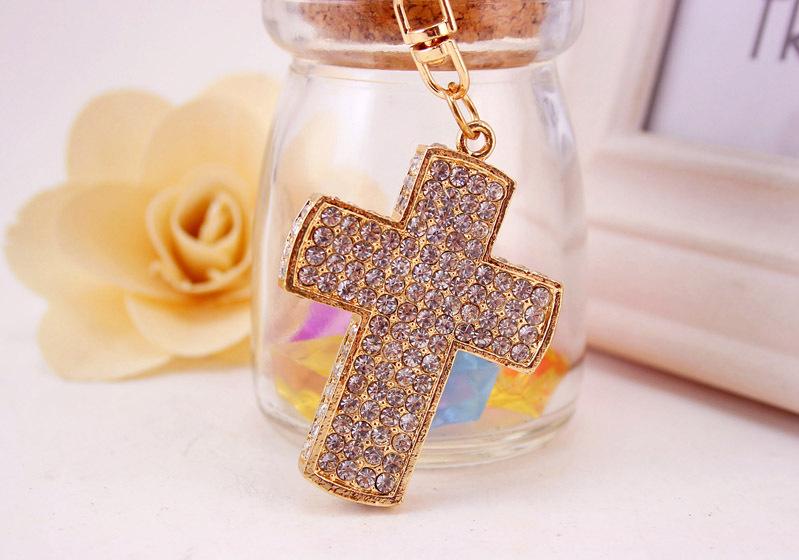 Korean diamond crystal cross car keychain  NHAK256796
