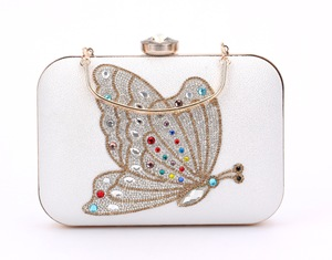 spot hand bag Austrian crystals set auger evening bag butterfly female handbag