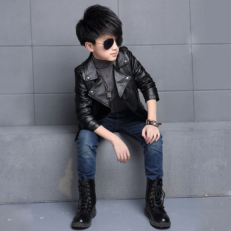 3bb45beed Teenager Boys Leather Jacket Boys Casual Children Outerwear Kids ...