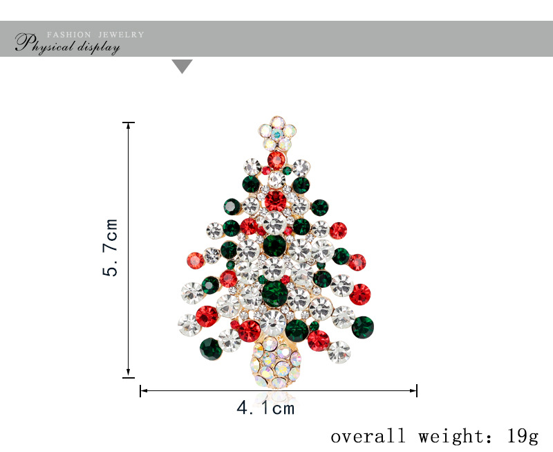Christmas series jewelry KC gold full diamond Christmas tree wholesale NHDR179482