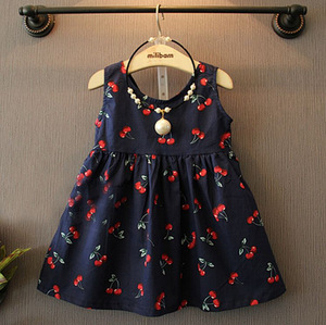2017 spring new children's wear, girls, paternity, printed, tied rope, Korean cotton sleeveless sleeveless dress