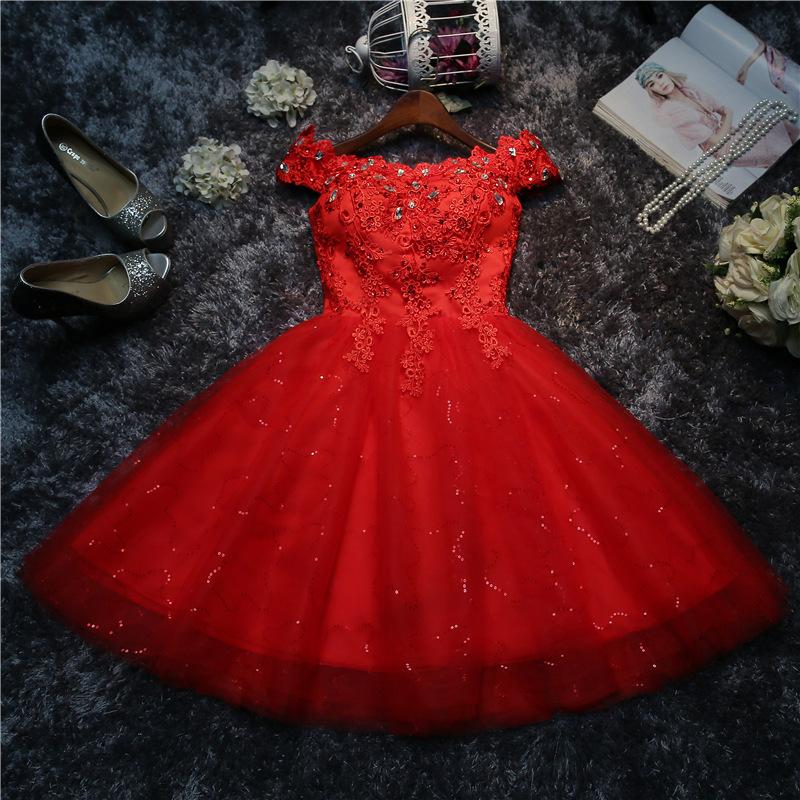 伴娘服2020夏季新款一字肩新娘结婚绑带演出服小礼服短裙红色女A5