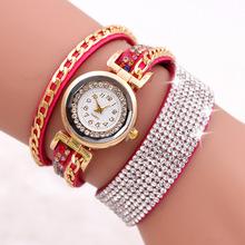 新款韩国绒彩钻链条满钻绕圈手表女款 绕绳点钻女孩手表现货批发