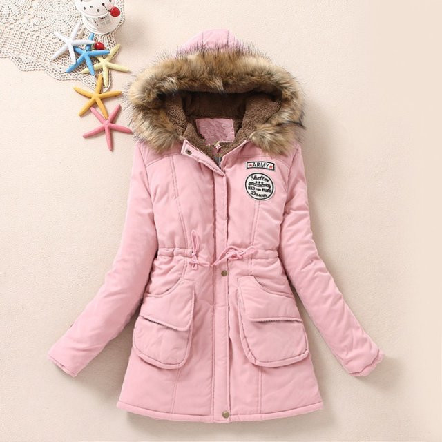 Cashmere Thickened Hooded Large Wool Collar Cotton Padded Women's Medium Long Korean Autumn And Winter Coat