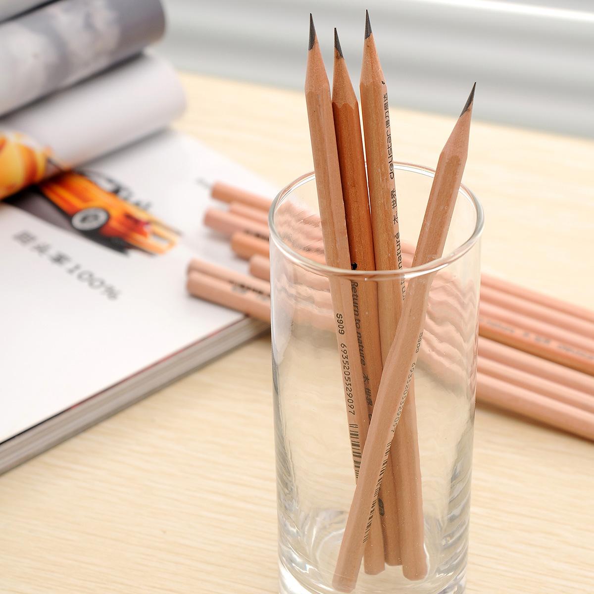 Deli S910 Log Pencil Student Pencil HB Pencil Hexagonal Cartoon Vẽ Pencil 12 cái / Hộp