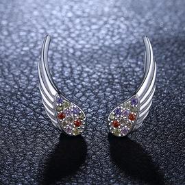 Korean style silver angel wings micro-inlaid zircon ear clips without pierced women's 925 sterling silver earrings