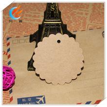 直径6cm小花边圆形印章作品卡DIY牛皮卡吊牌标签