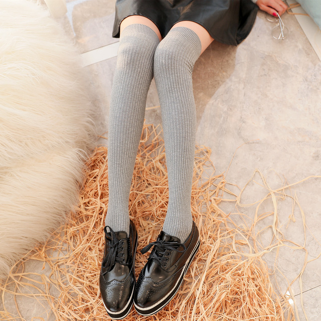 秋冬新品日系学院风袜子 细竖条过膝长筒袜 休闲 潮流女袜