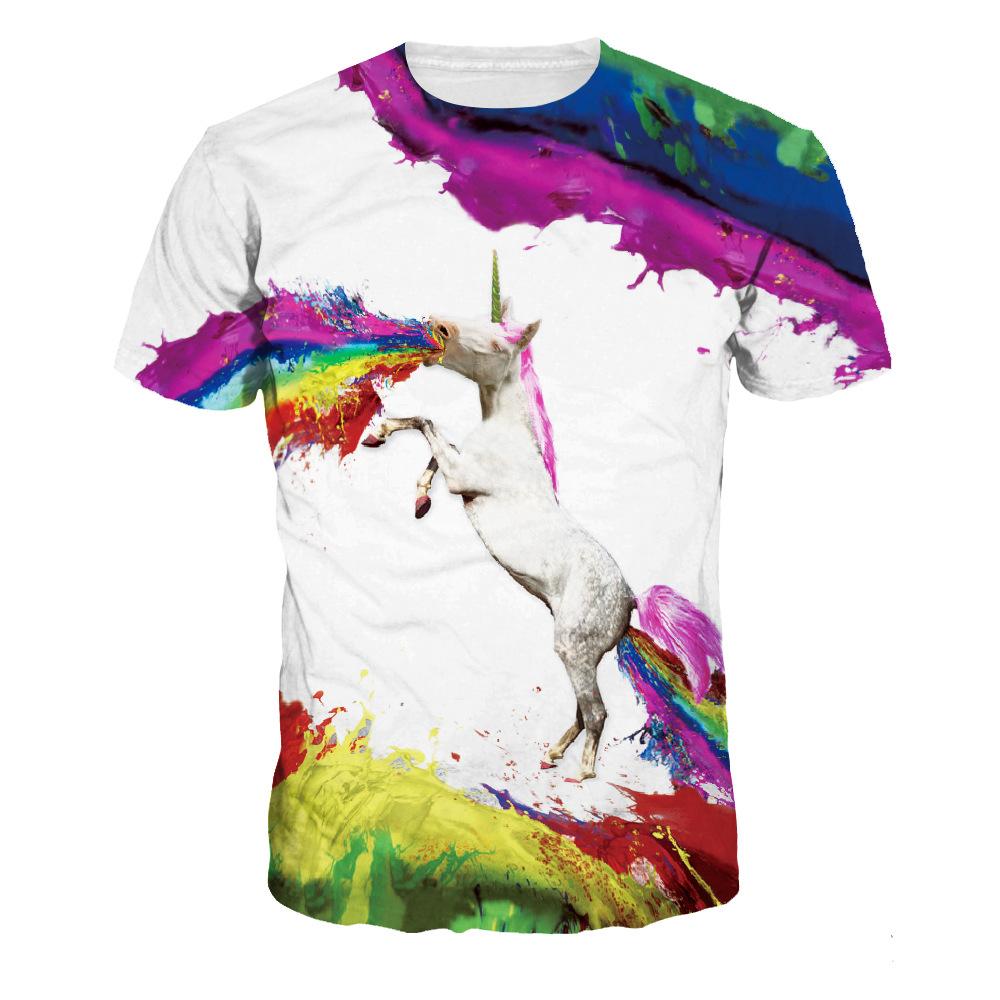 69b3d0cf Men Rainbow T-shirt Pegasus Watercolor 3D Digital Printing Men's ...