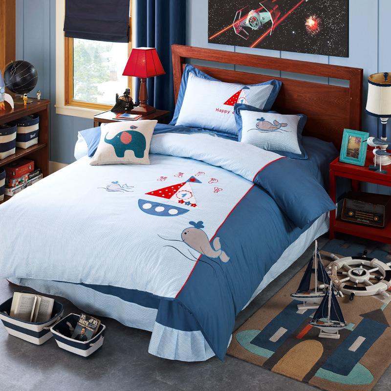 一手货源工厂直供全棉斜纹活性印花+【绣花】儿童床上用品四件套