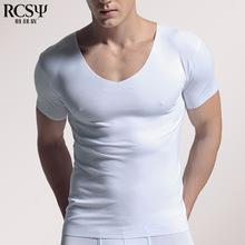 随心裁无痕男士内衣莫代尔短袖T恤夏季修身V领紧身?#21487;?#25171;底汗衫