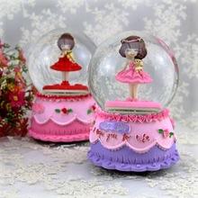 美女姑娘大号水晶球音乐盒 旋转雪花花仙子八音盒礼物