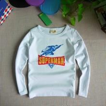超人長袖T恤男外貿童裝春秋新品打底衫中大童上衣一件代發日單潮