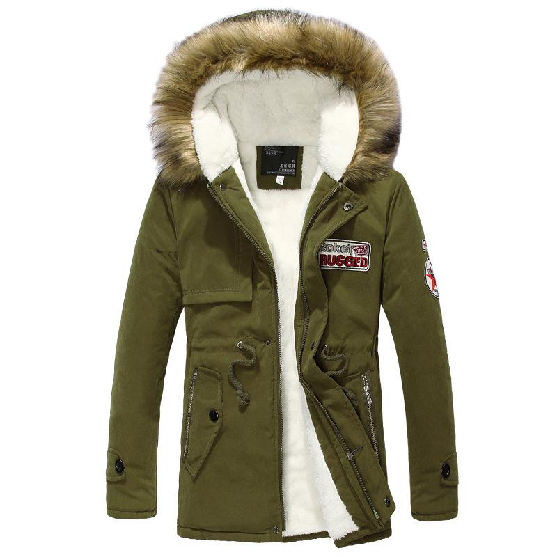 外贸批发 中长款军绿情侣男女 加厚保暖毛领大码棉衣外套