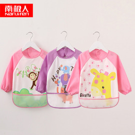 Children's anti-dressing baby gowns waterproof band pockets eating bibs three-piece baby products