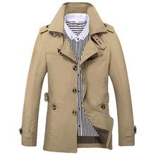 速卖通外贸秋季男式休闲风衣中长款潮大码男装纯棉夹克男外套