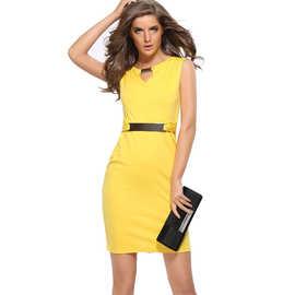 2019Ebay速卖通热卖金属扣小V领打底裙修身气质铅笔裙 大码连衣裙