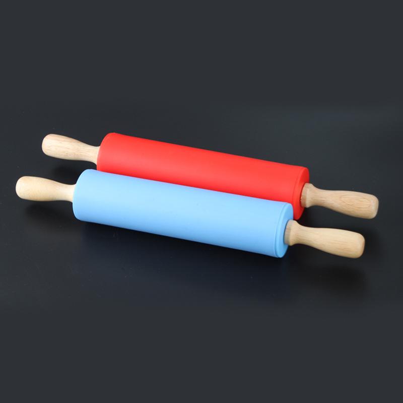 批发 29cm 烘焙工具 硅胶擀面杖 实木柄 滚轴不粘擀面棍棒 面粉棍
